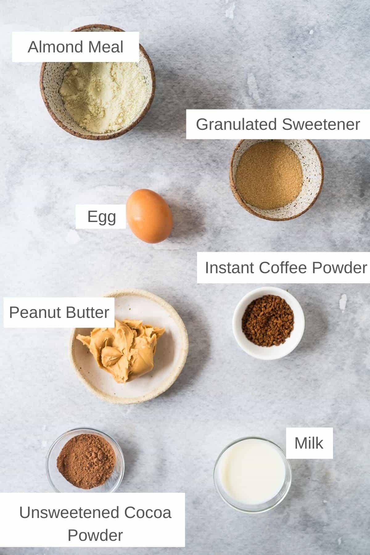 ingredients for chocolate peanut butter mug cake