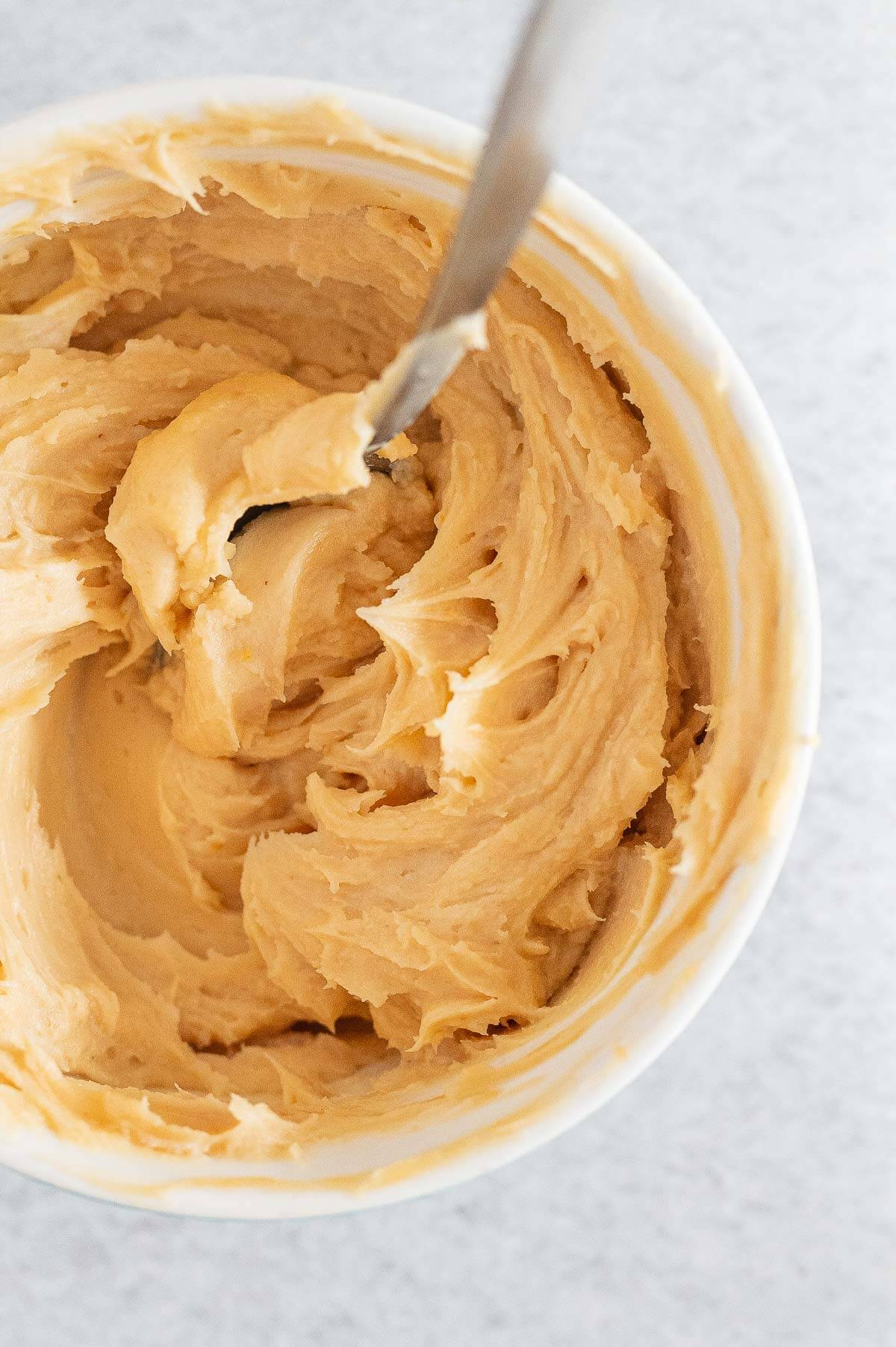 peanut butter cream cheese filling in a bowl