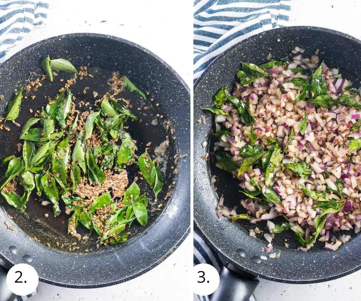 curry leave, coriander and cumin seeds frying in a pan