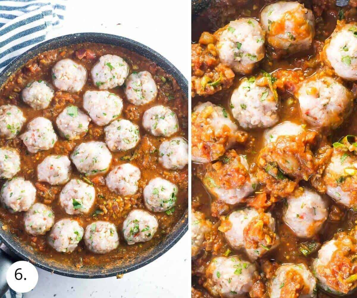 meatballs cooking in curry sauce in a pan