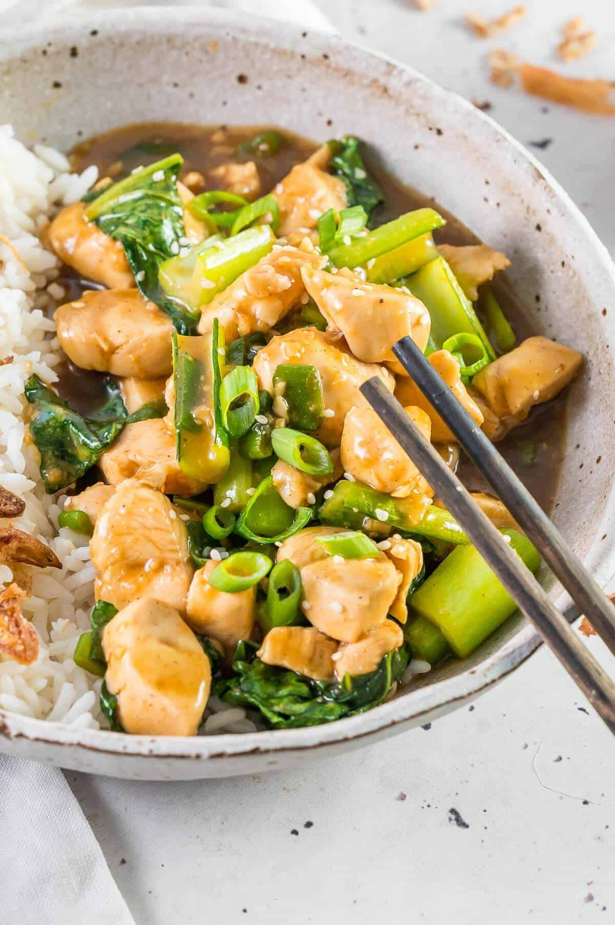 Chinese garlic chicken with shallots and chops on side