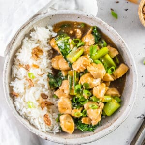 a bowl of chinese garlic chicken with rice