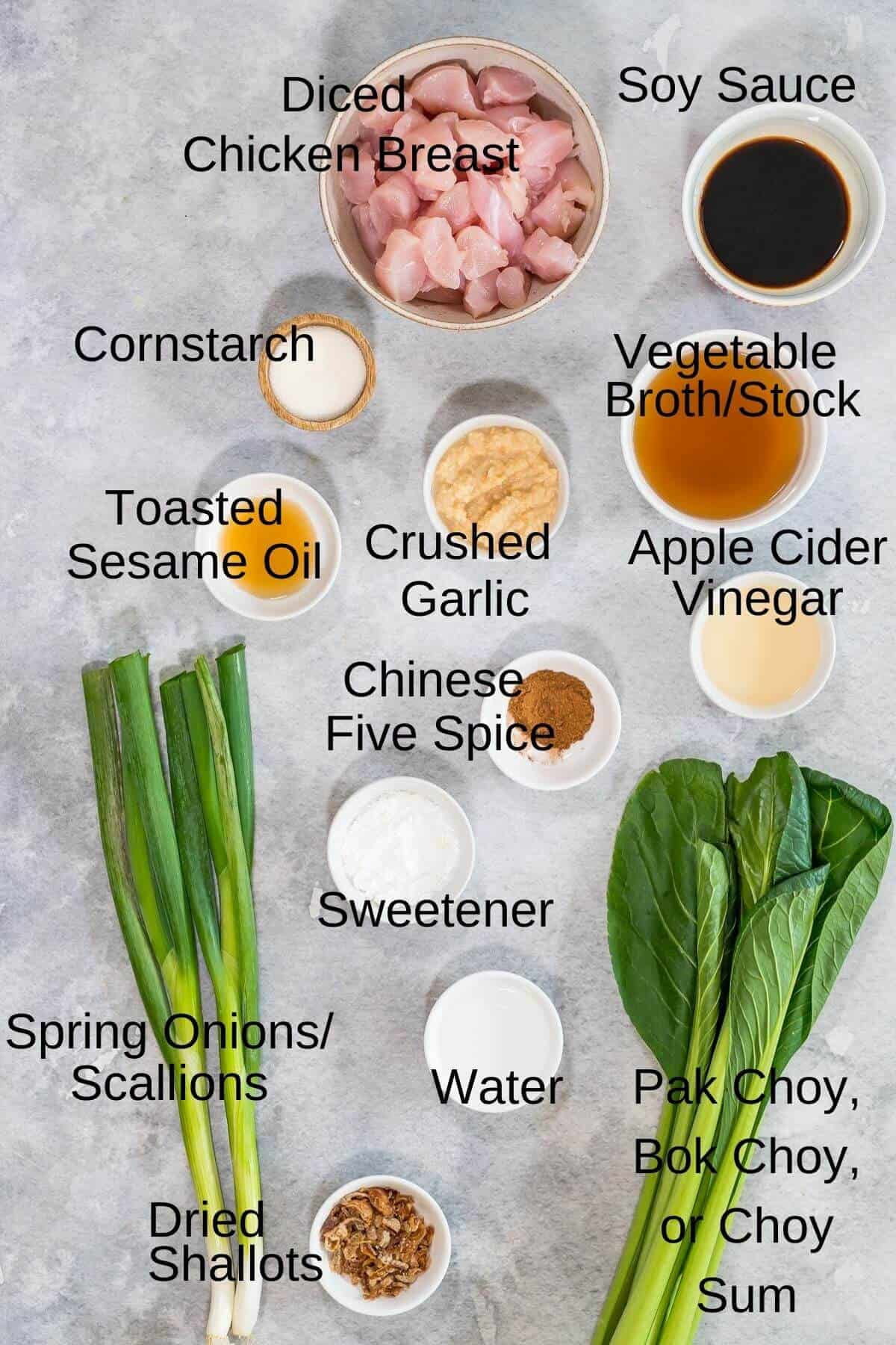 Ingredients for Chinese Garlic Chicken