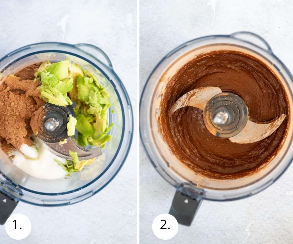 making chocolate frosting in food processor