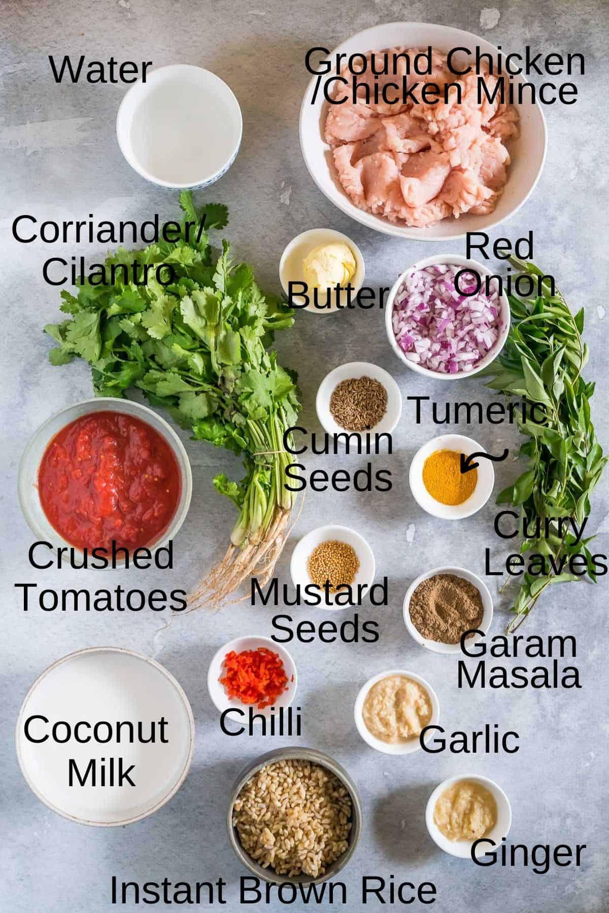 ingredients for butter chicken meatballs