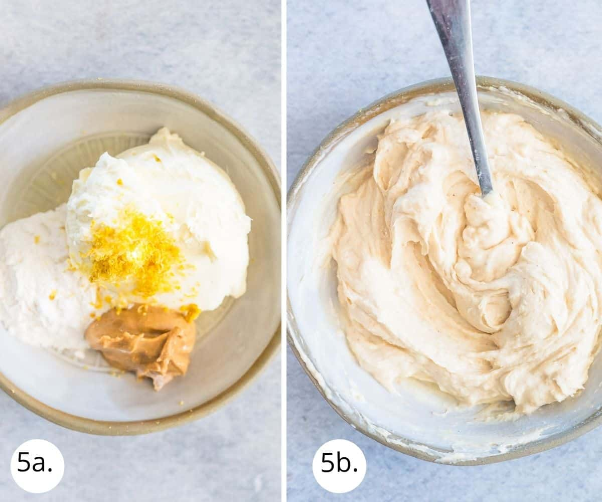 mixing cream cheese filling in a bowl