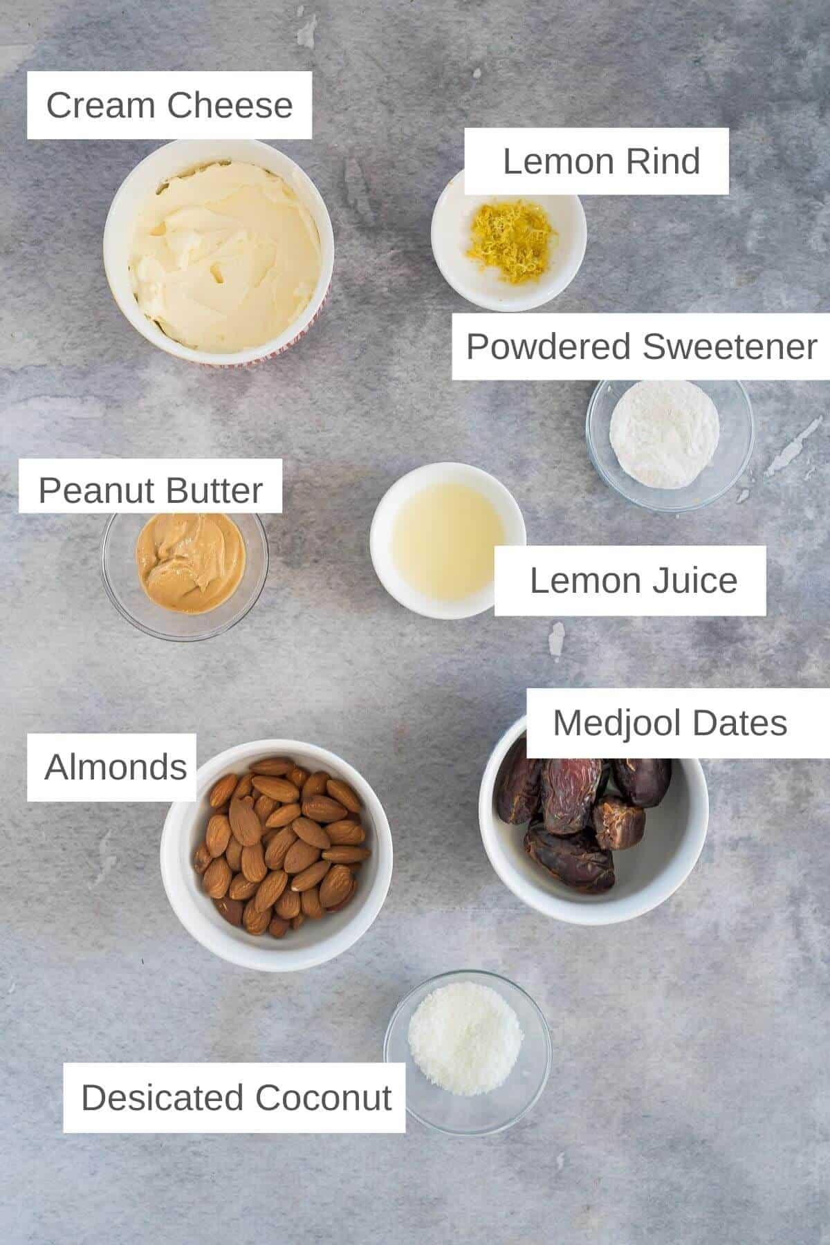 Ingredients to make mini lemon cheesecake bites