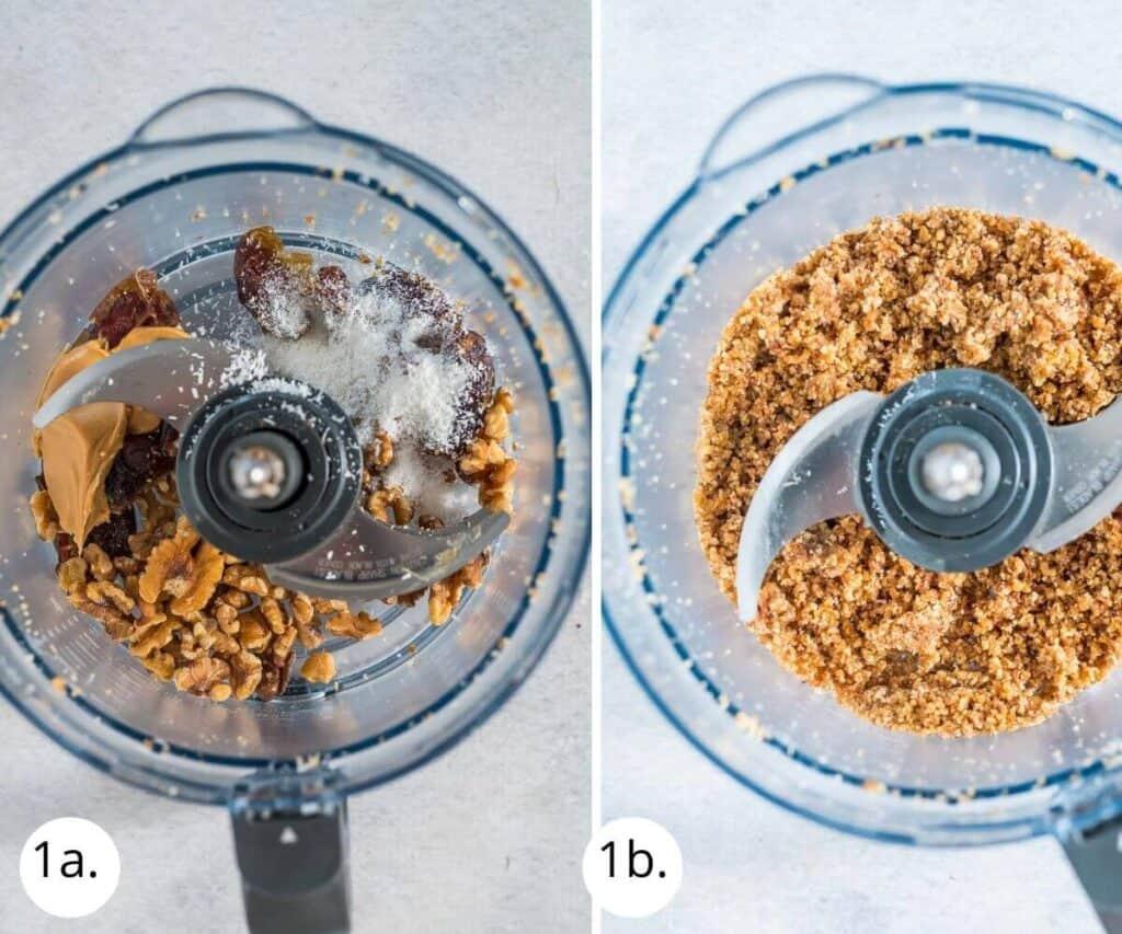 blitzing cheesecake base ingredients in food processor