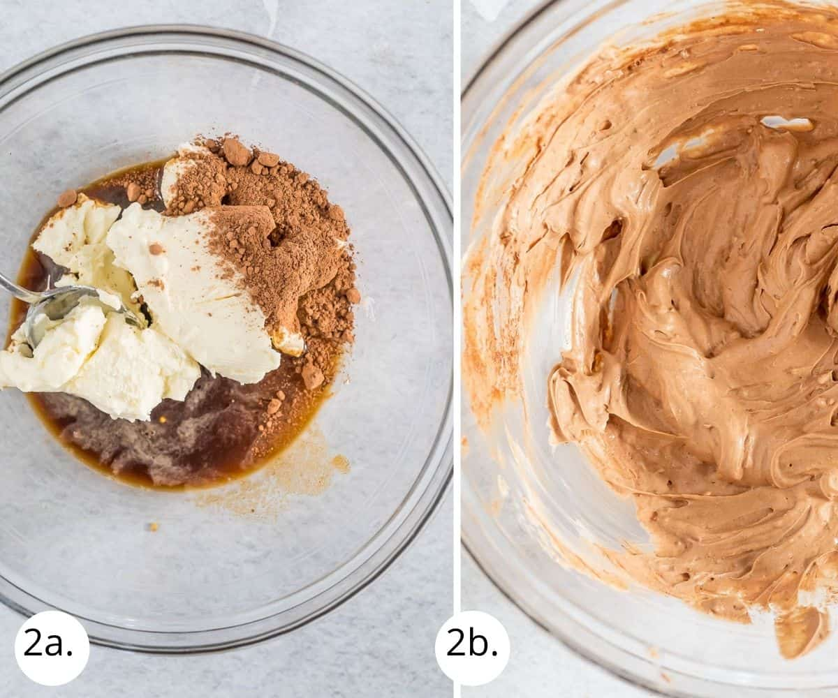 mixing cheesecake filling ingredients in a bowl