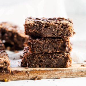 a stack of 3 chickpea brownies