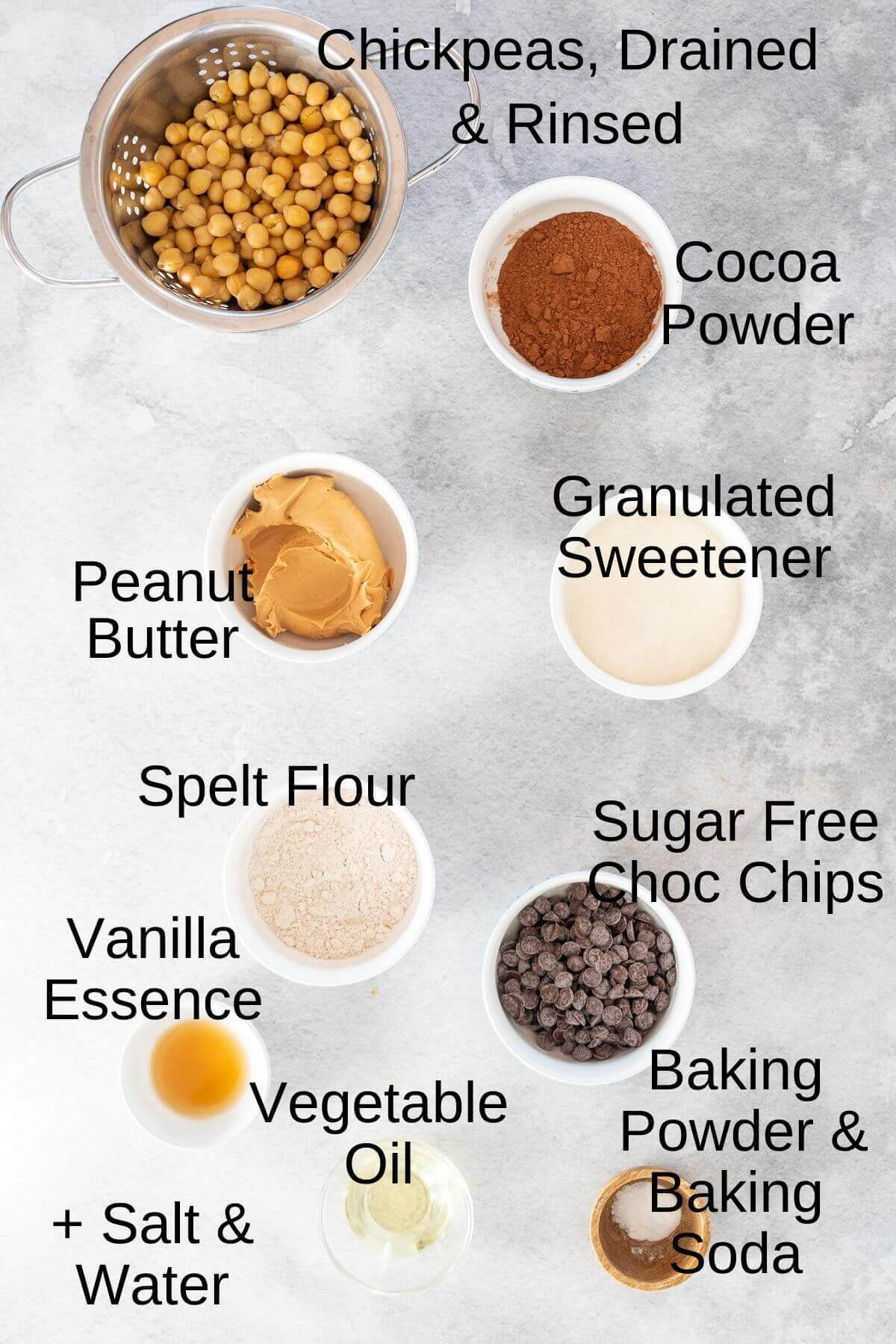 Ingredients for chickpea brownies