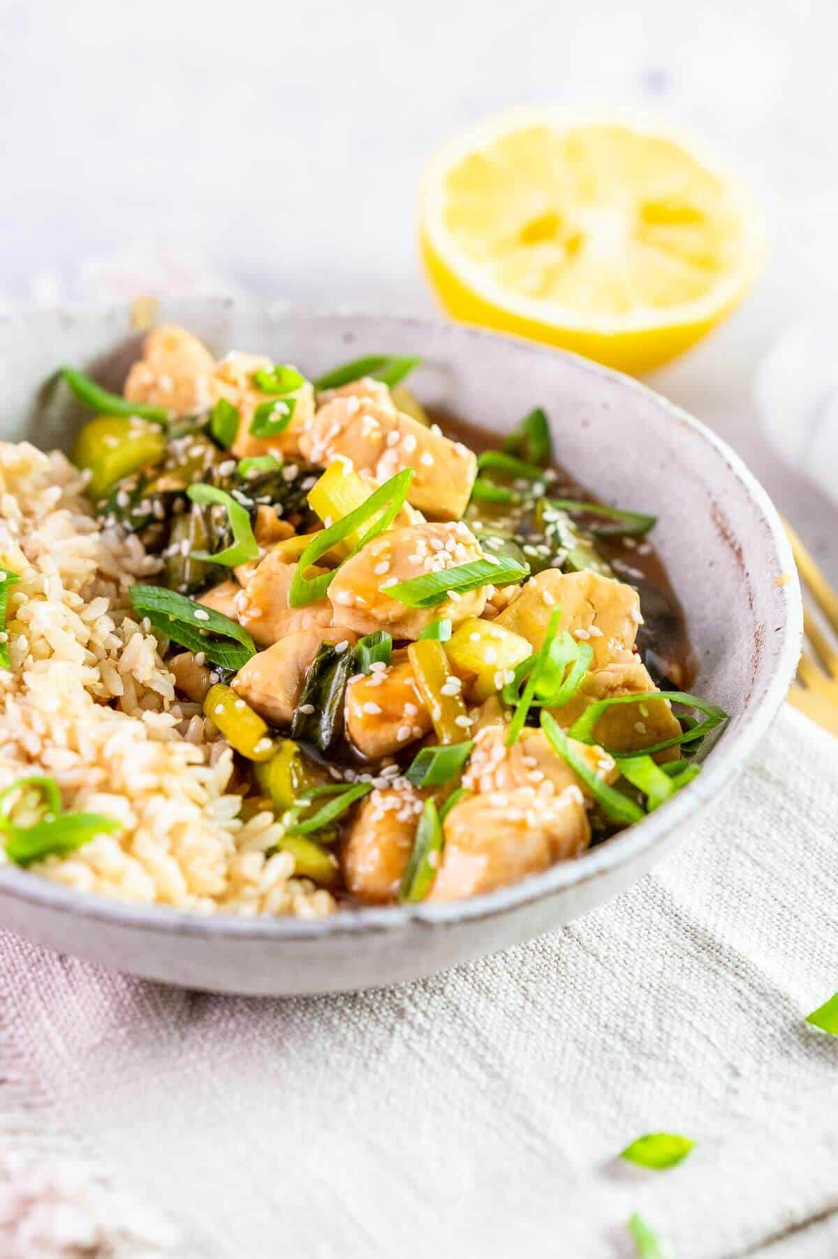 lemon chicken with shallots and sesame seed