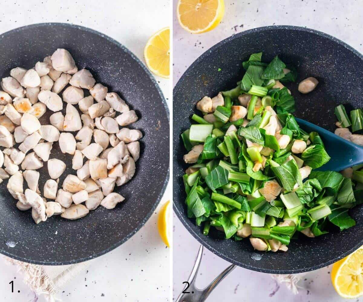 cooking chicken and asian greens in a skillet