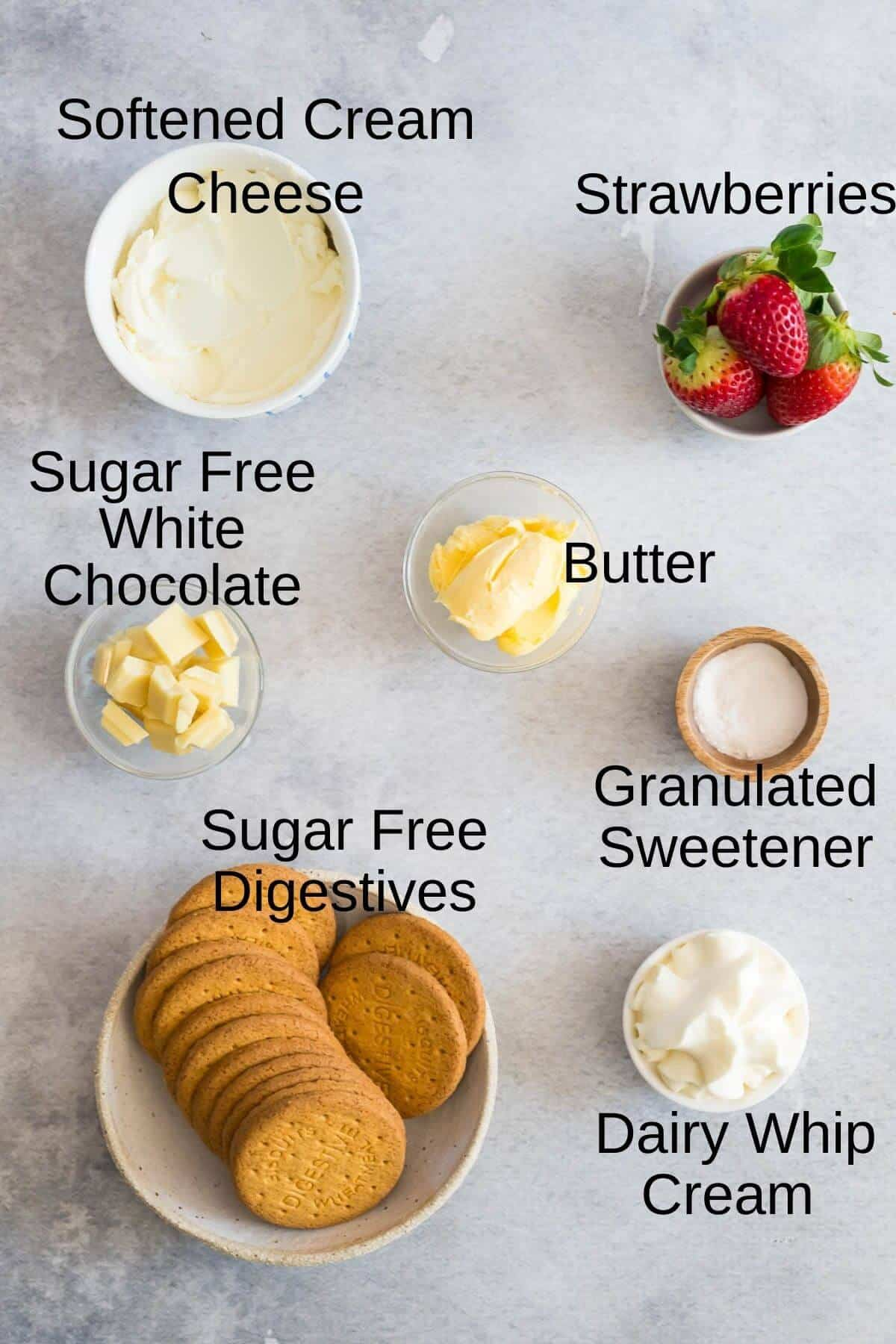 ingredients for mini strawberry cheesecakes
