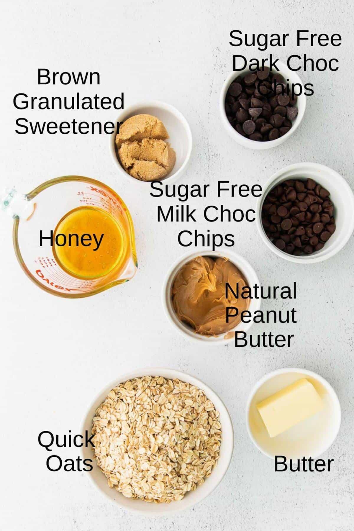 Chocolate oat granola bar ingredients