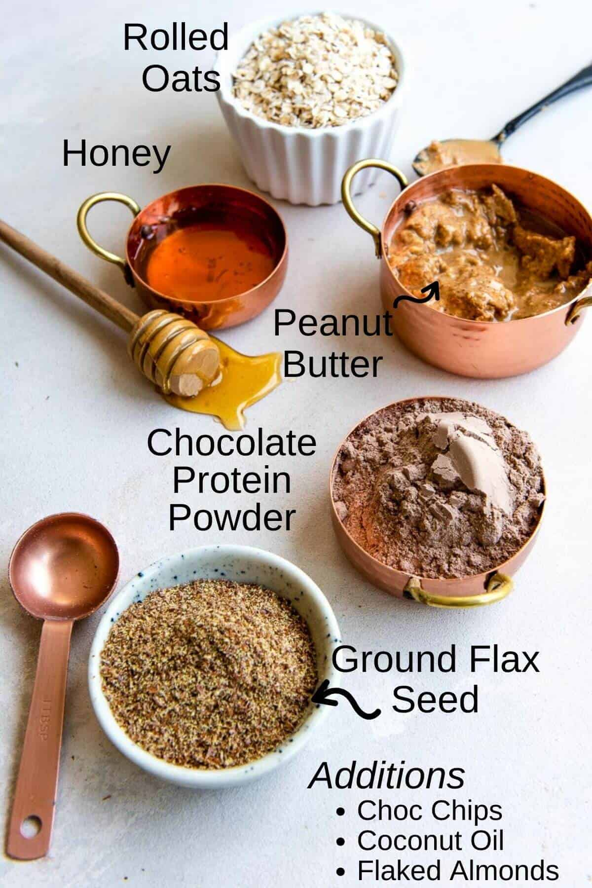Ingredients to make no bake protein bars with oats