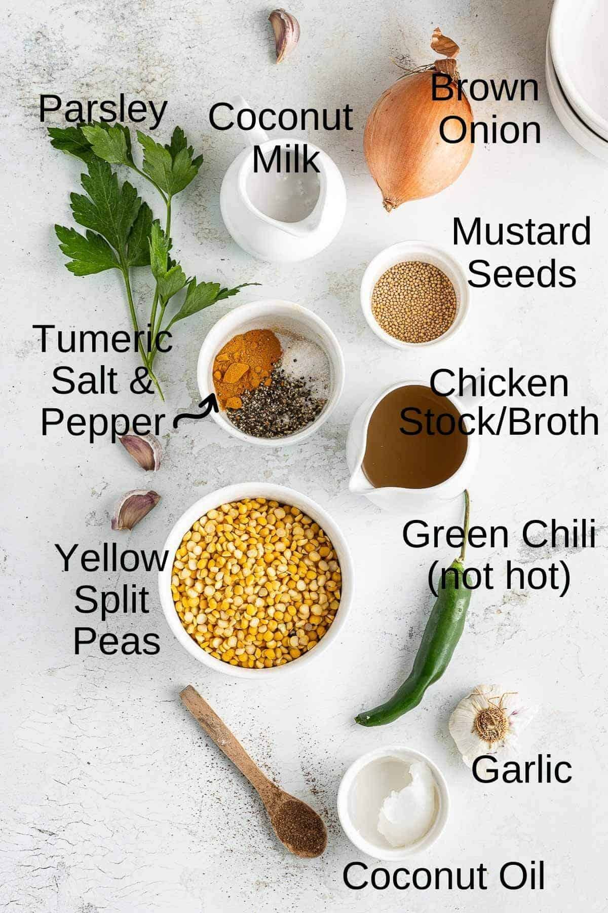 Ingredients for yellow lentil soup