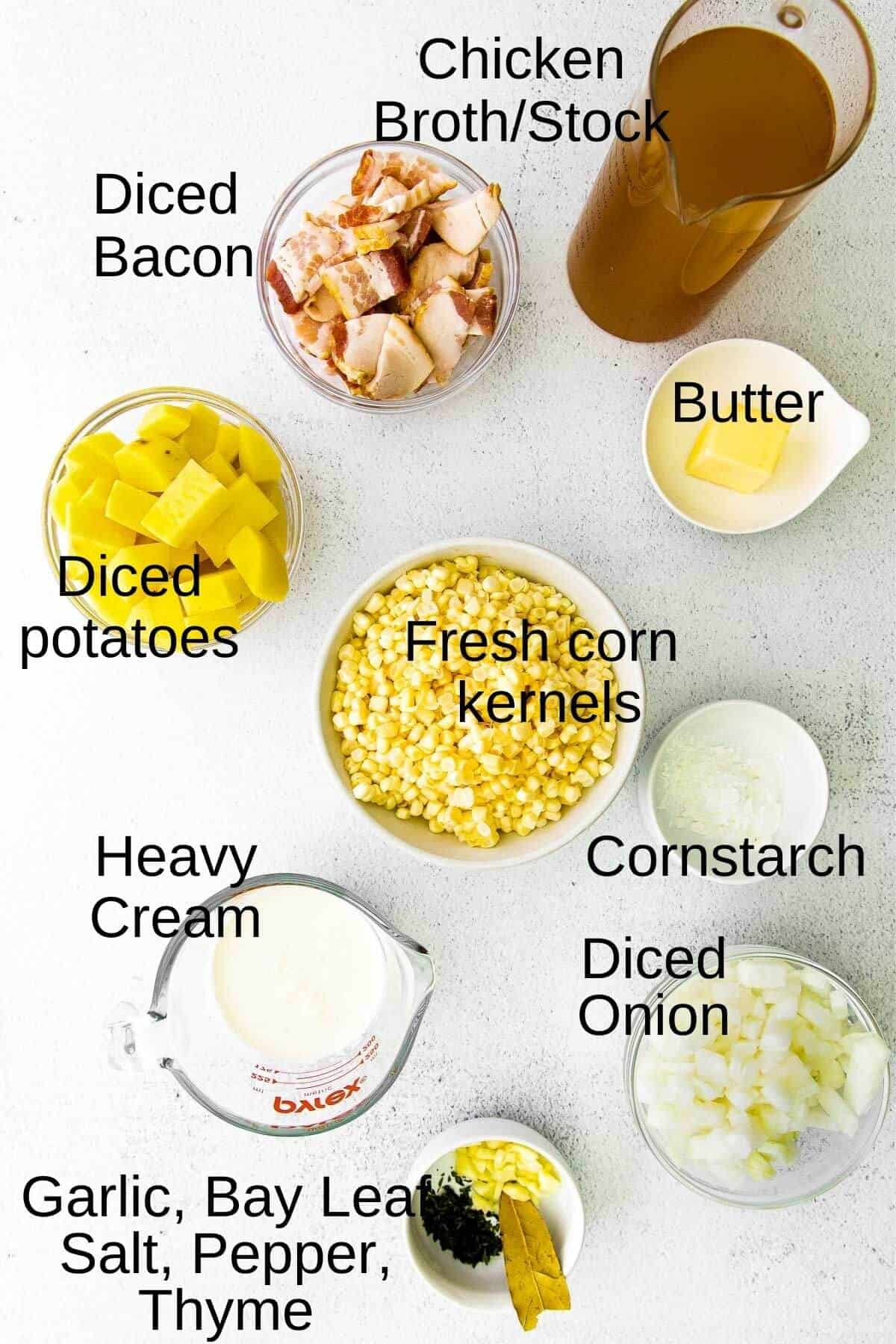 ingredients for summer corn chowder