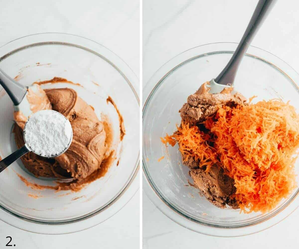 adding sweetener and carrot to cashew butter mixture